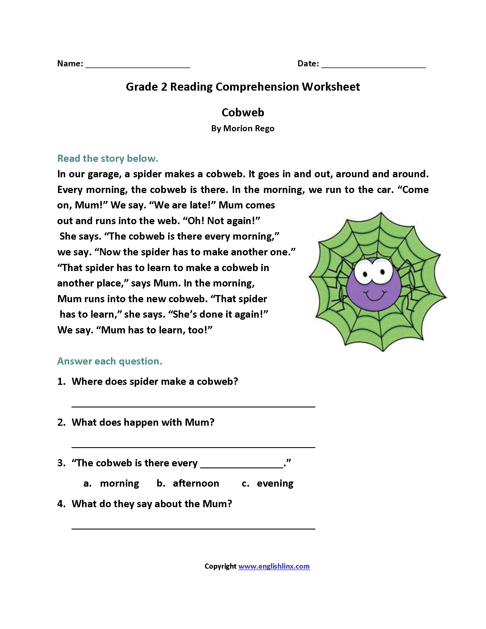 Reading Worksheets For 2nd Grade The Best Worksheets Image