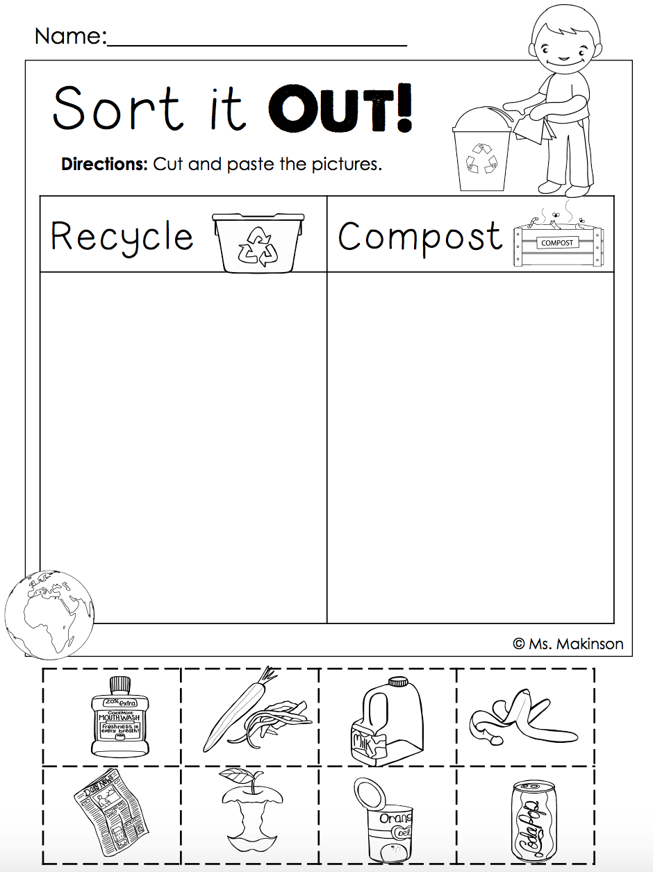 Recycling Worksheets For Preschool Sorting Kindergarten Worksheet