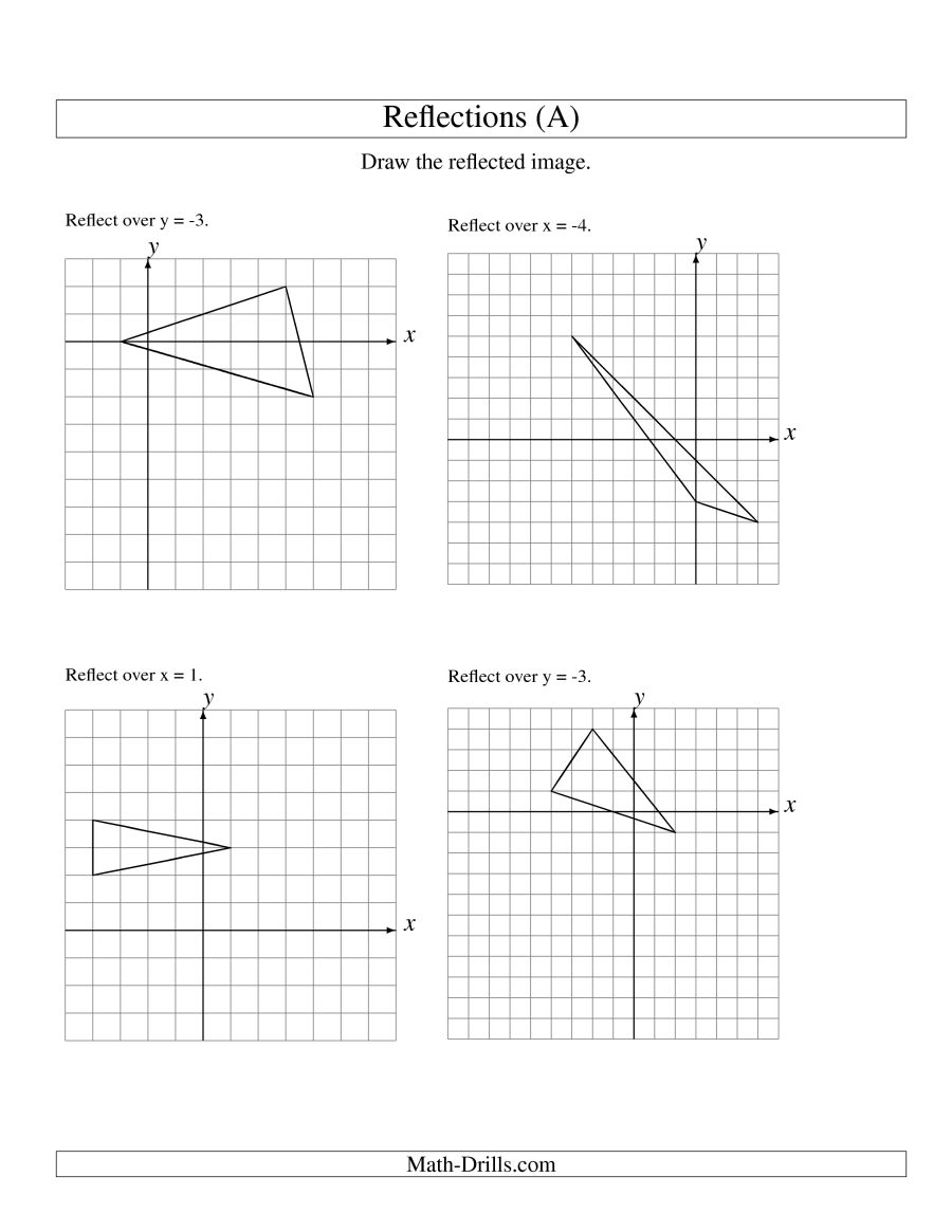 Reflection Of 3 Vertices Over Various Lines (a)