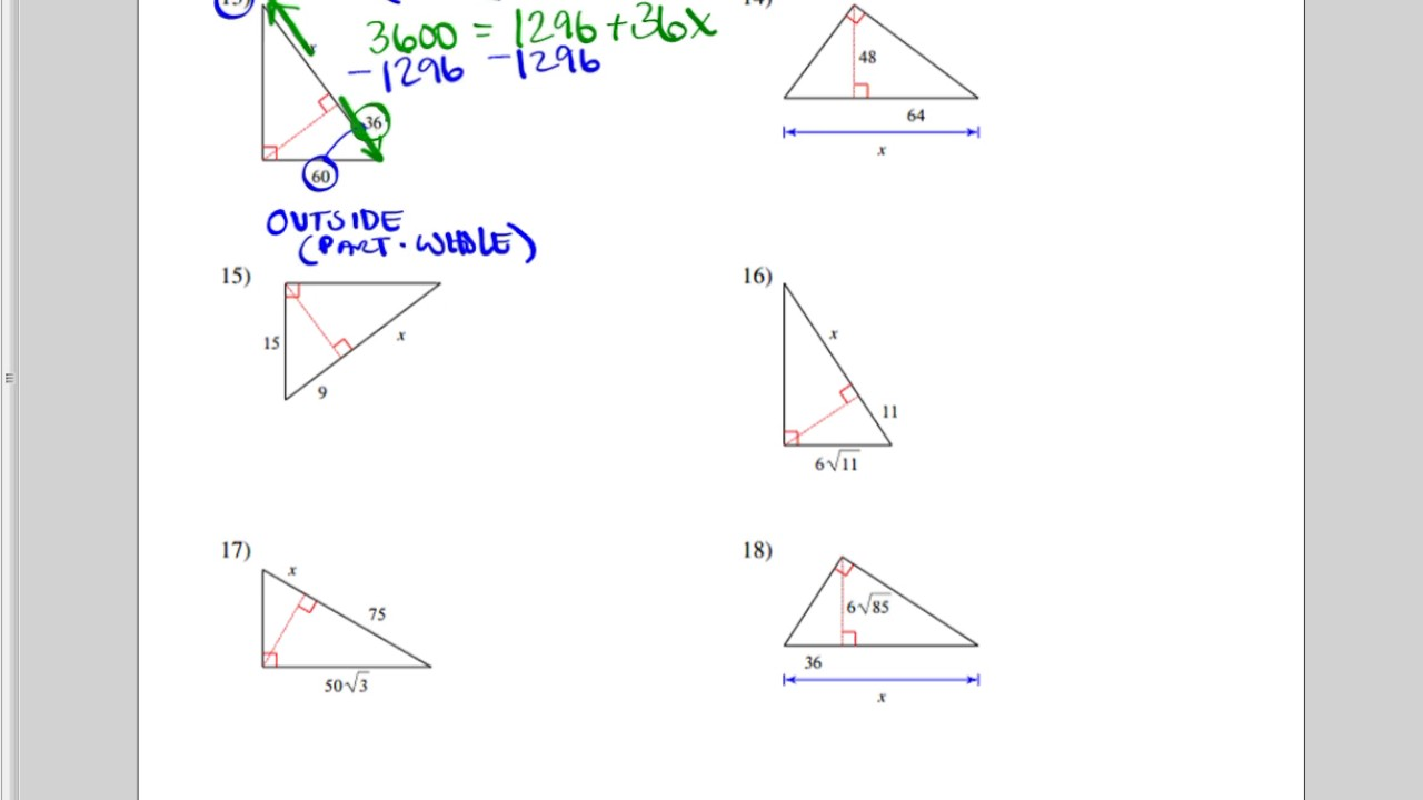 Similar Right Triangles Worksheet (more Difficult)
