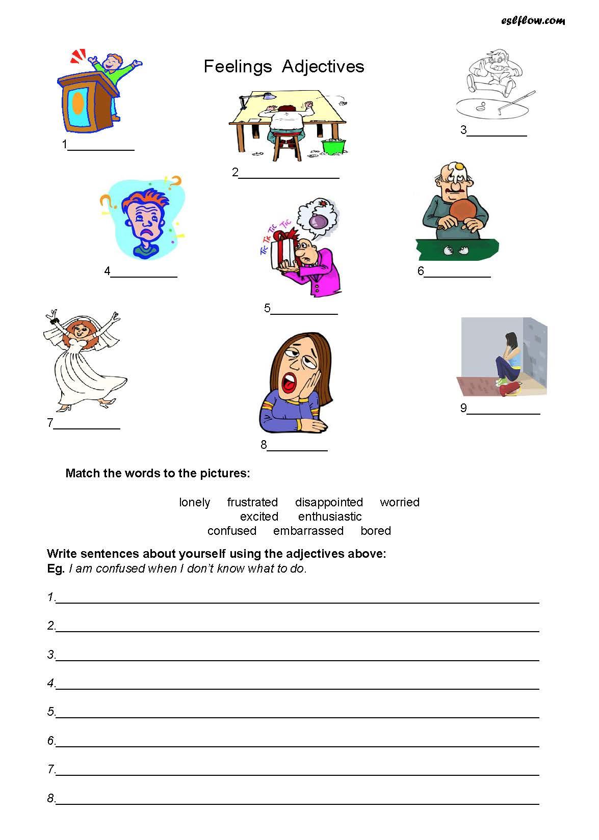 Simple Adjectives Worksheet Esl