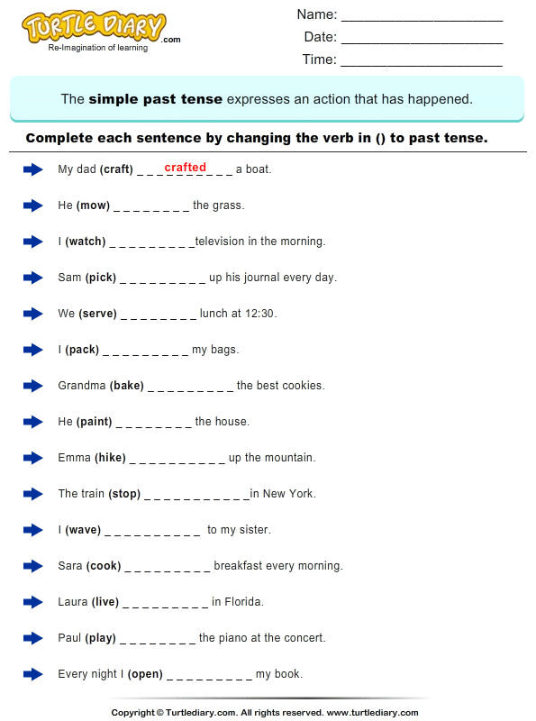 Simple Past Tenses Worksheets The Best Worksheets Image Collection