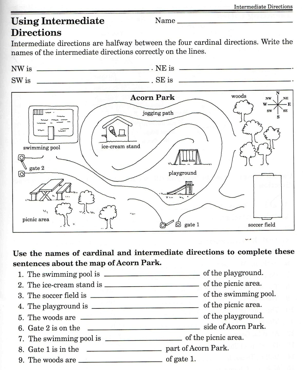 Social Studies Skills Compass And Geography On Parts Of A Map Quiz