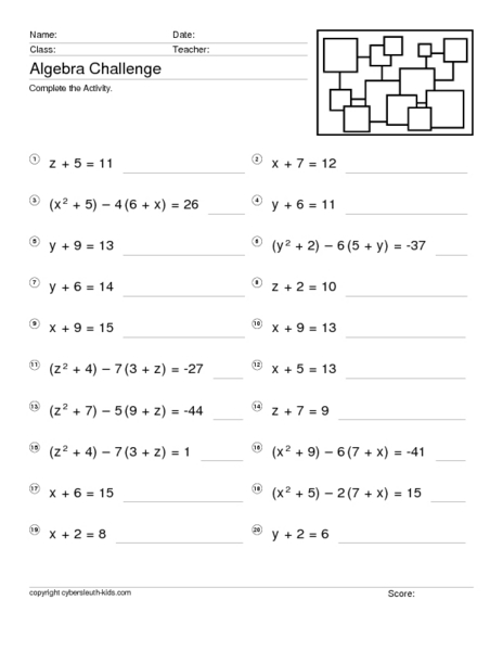 Solving Equations With One Variable Worksheet The Best Worksheets