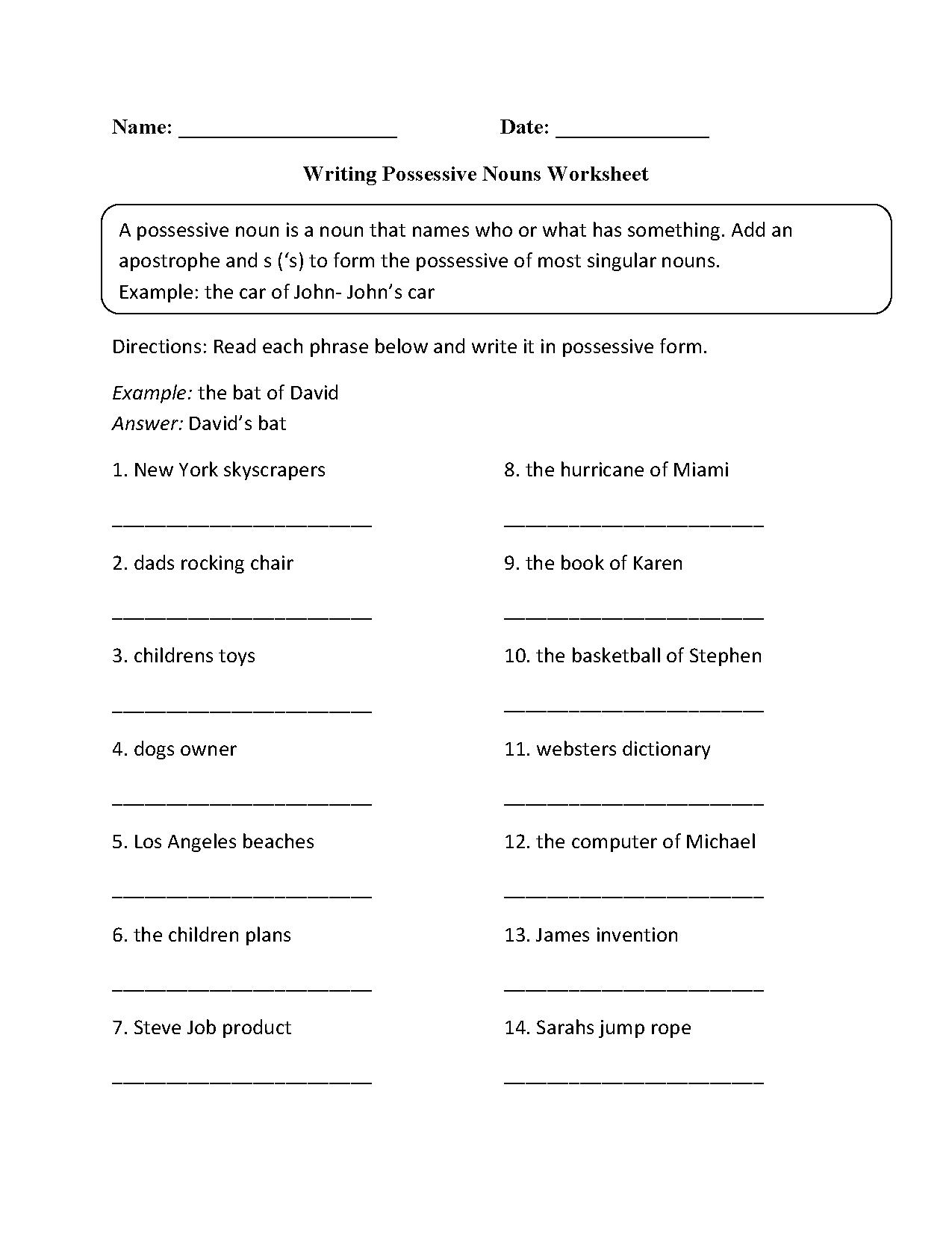 Spanish Possessive Pronoun Worksheets The Best Worksheets Image