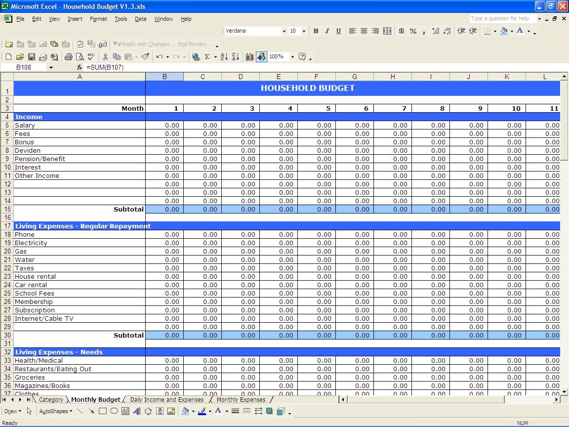 Spreadsheet For Daily Expenses