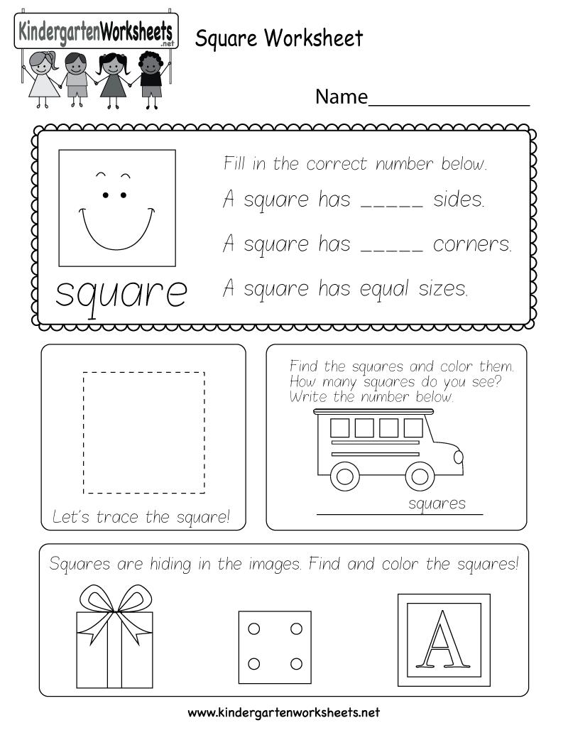 Square Worksheets Kindergarten