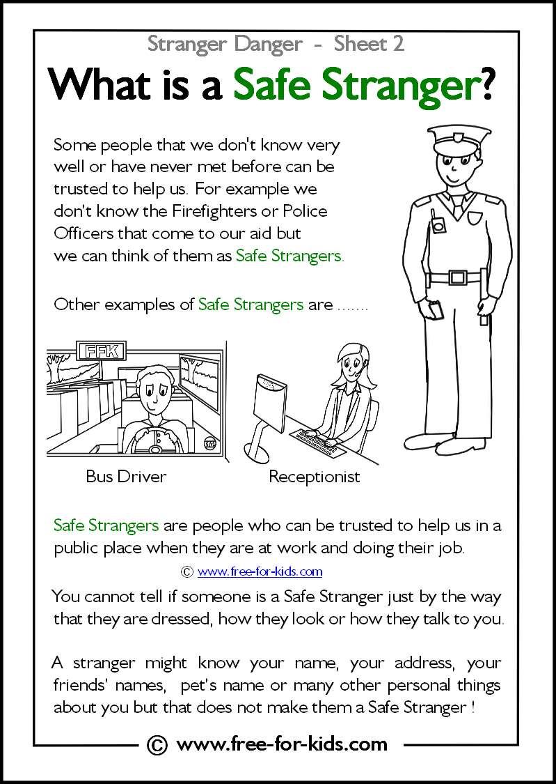 Stranger Danger Worksheets And Colouring Pages