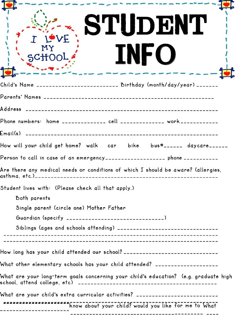 Student Information Sheets Are Great Tools To Get To Know Your