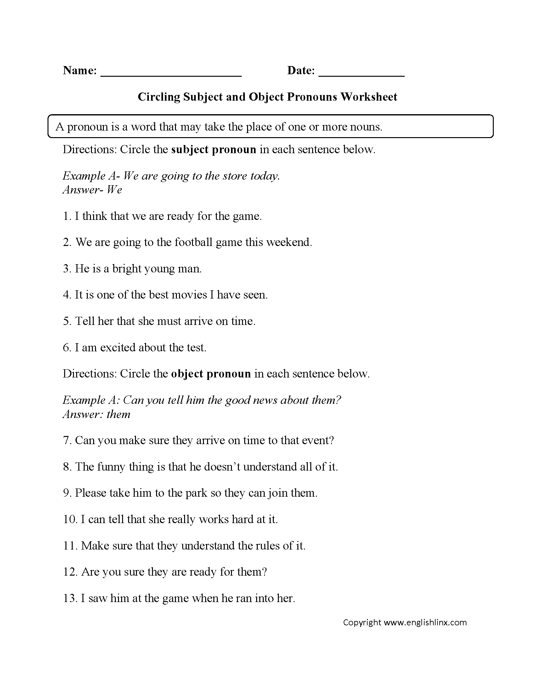Subject Pronoun Worksheets The Best Worksheets Image Collection