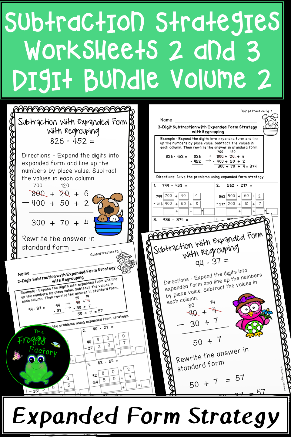 Subtraction Strategies Worksheets Expanded Form Bundle Volume 2