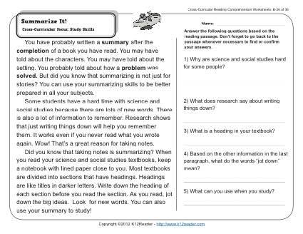 Summarizing Worksheets 6th Grade The Best Worksheets Image