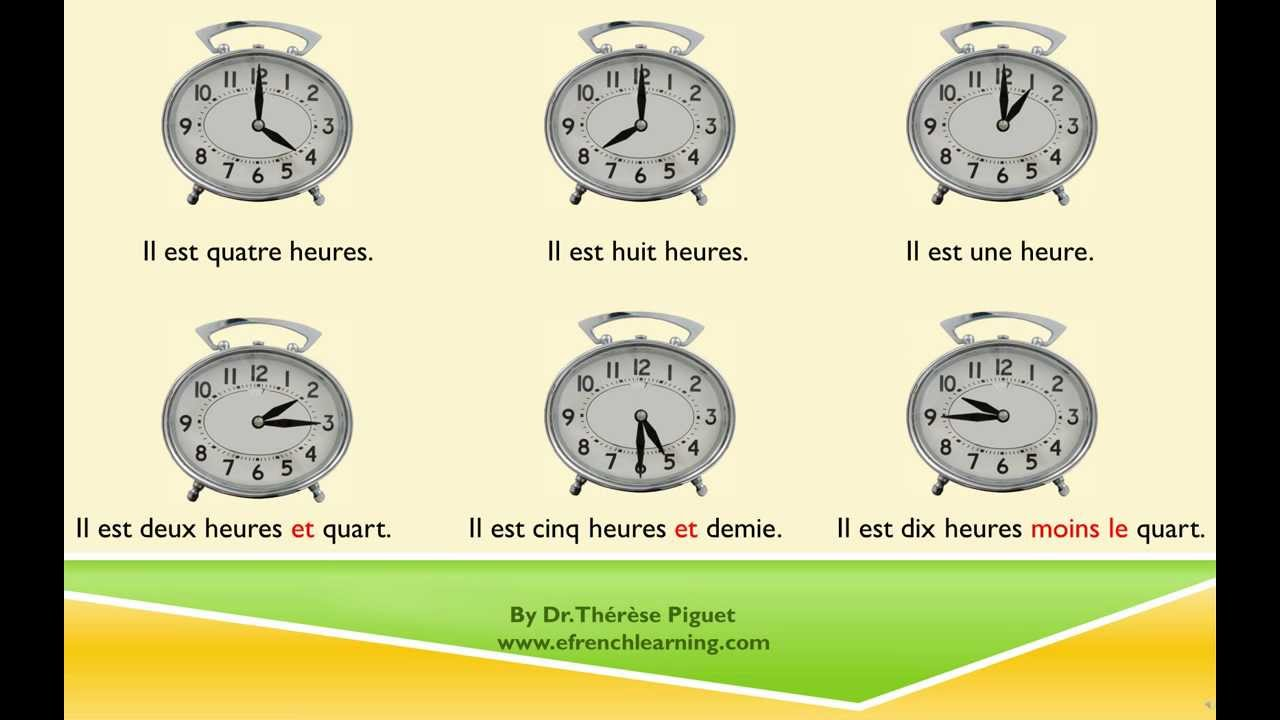 Telling Time In French Worksheets Free