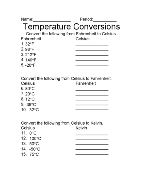 Temperature Conversion Worksheet With Answers