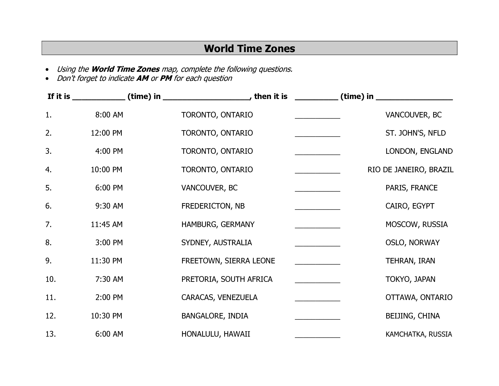 Time Zone Worksheets For Middle School The Best Worksheets Image