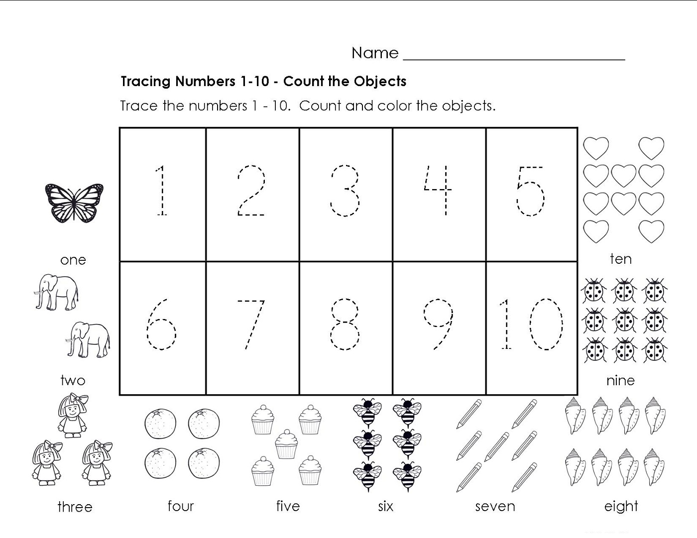 Traceable Numbers 1 10 Worksheets To Print Activity Shelter Math