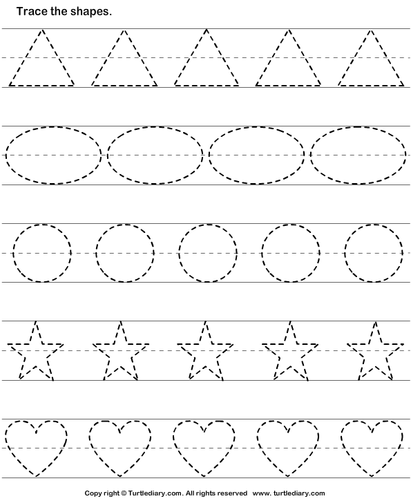 Tracing Shapes Worksheets For Pre K 402923
