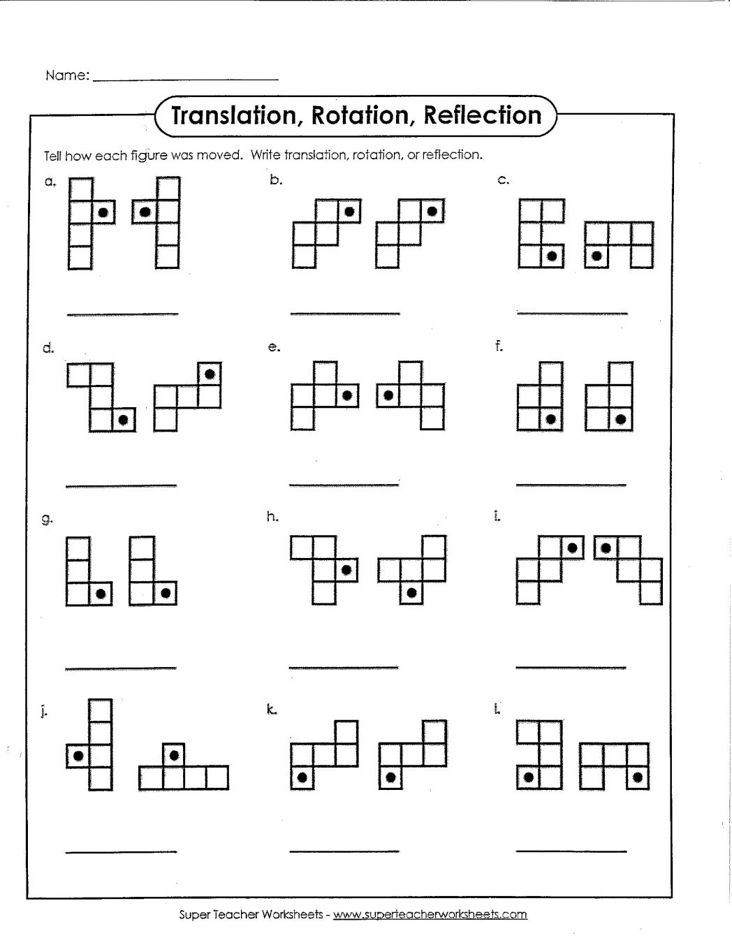 Translation Reflection Rotation Worksheets The Best Worksheets
