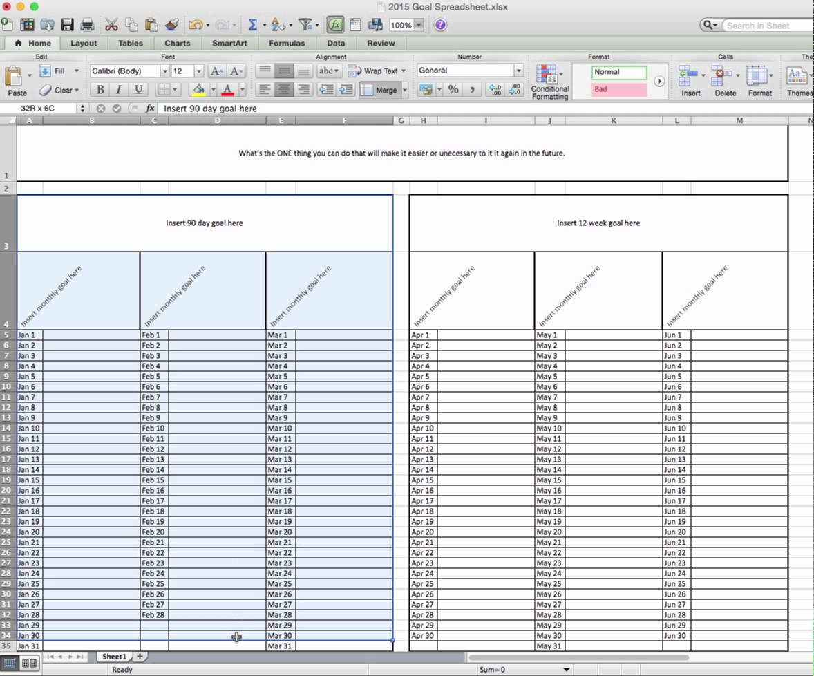 Ultimate Goal Setting Spreadsheet