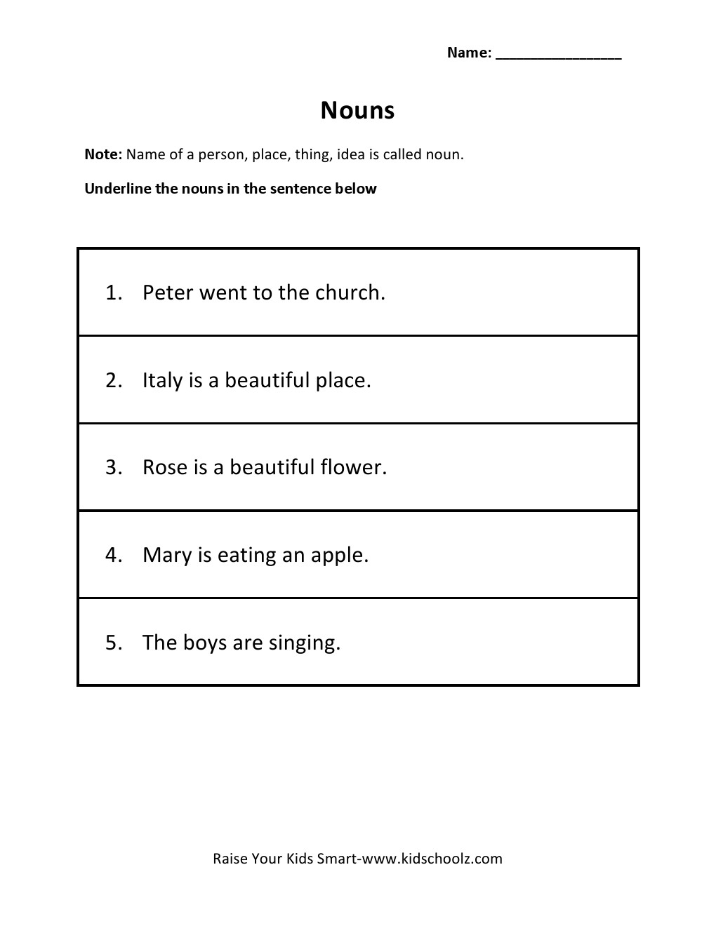 Underline Nouns Worksheet For Grade 1 Falling Into First Grammar