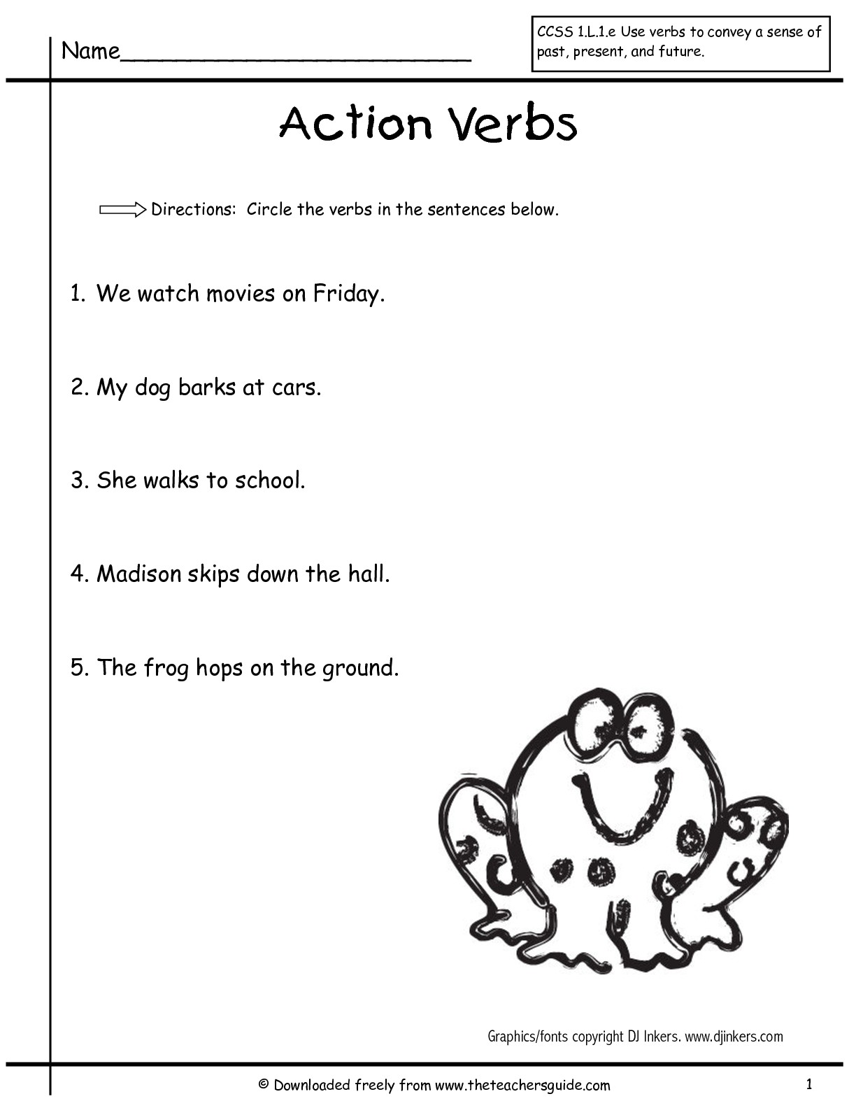Verbs Worksheets 1st Grade The Best Worksheets Image Collection