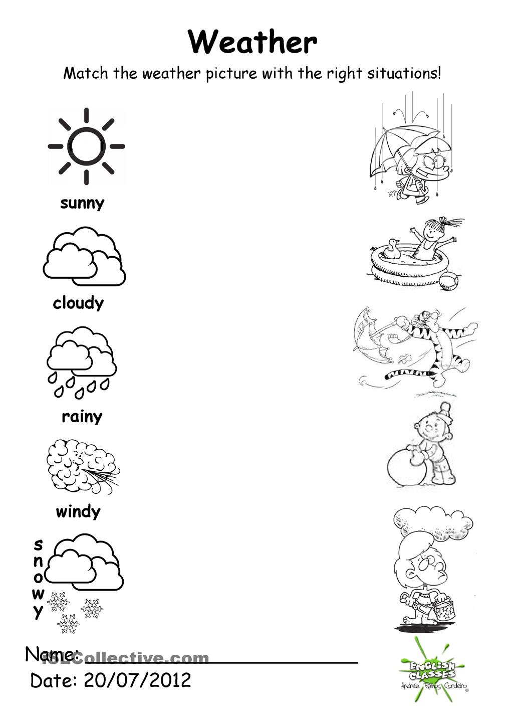 Weather Match Theme Pinterest Worksheets Alphabet Matching For