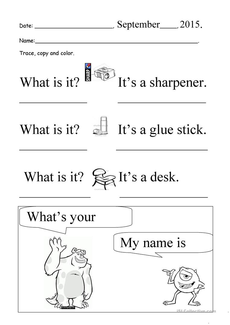 What Is It  What's Your Name  Trace And Copy Worksheet