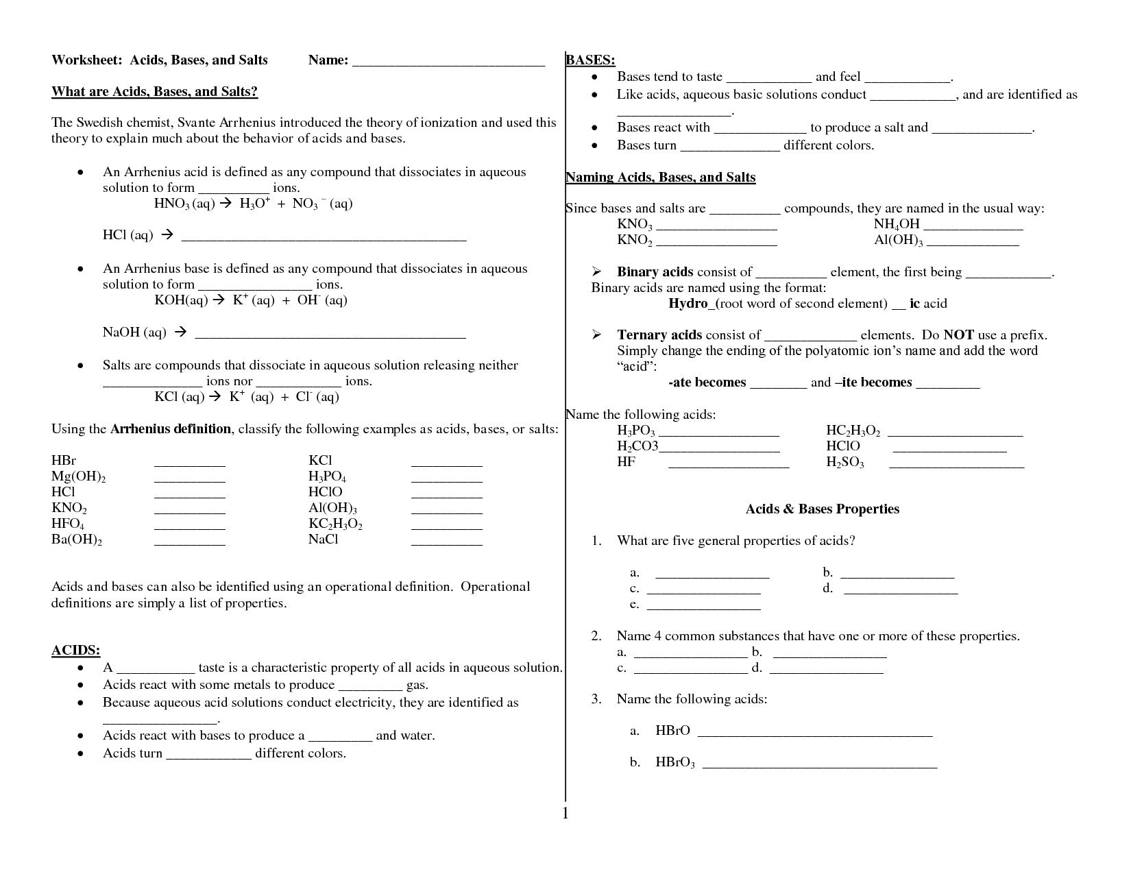 Worksheet Acids Bases And Salts Answer Key