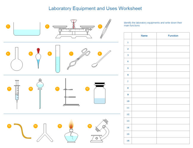 Worksheet For Lab Equipment