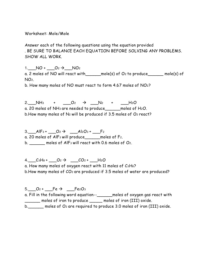 Worksheet Mole Mole Problems 8 6