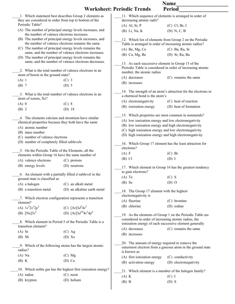 Worksheet Periodic Trends Key