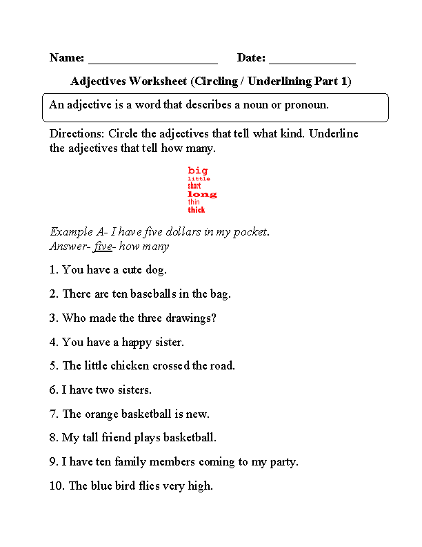 Worksheets For Grade 1 Describing Words