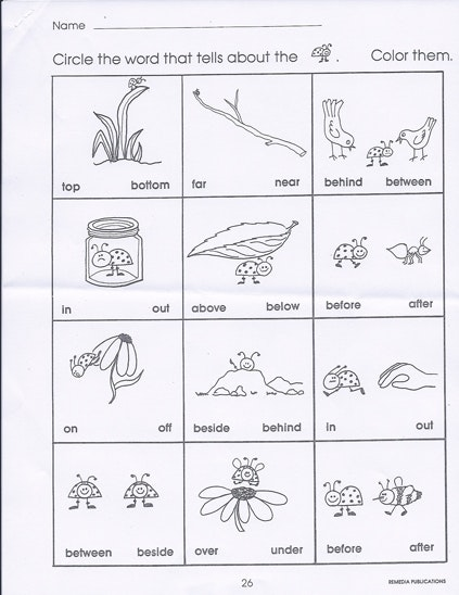 Worksheets On Positional Words For Preschool 182625