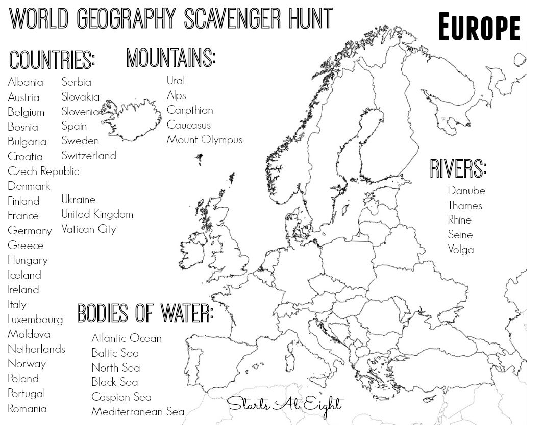 World Geography Scavenger Hunt  Europe ~ Free Printable
