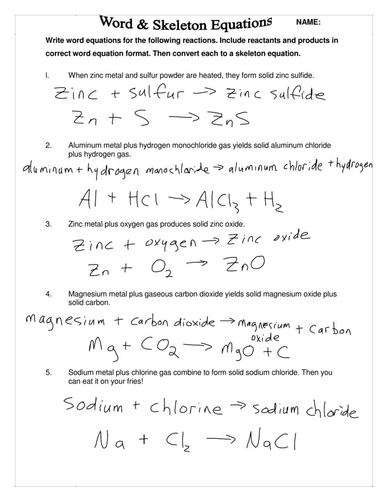 Write Word Equations For The Following Reactions  Include Reactants
