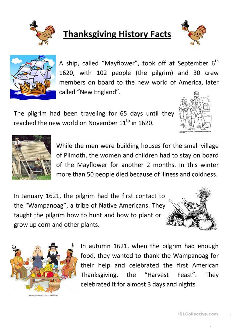10 Free Esl Thanksgiving Story Worksheets