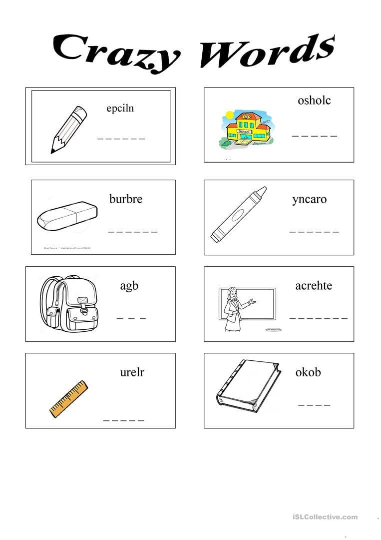 13 Free Esl School Things School Objects Worksheets