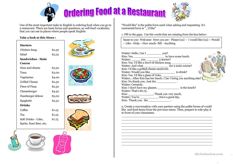 16 Free Esl Ordering Food Worksheets