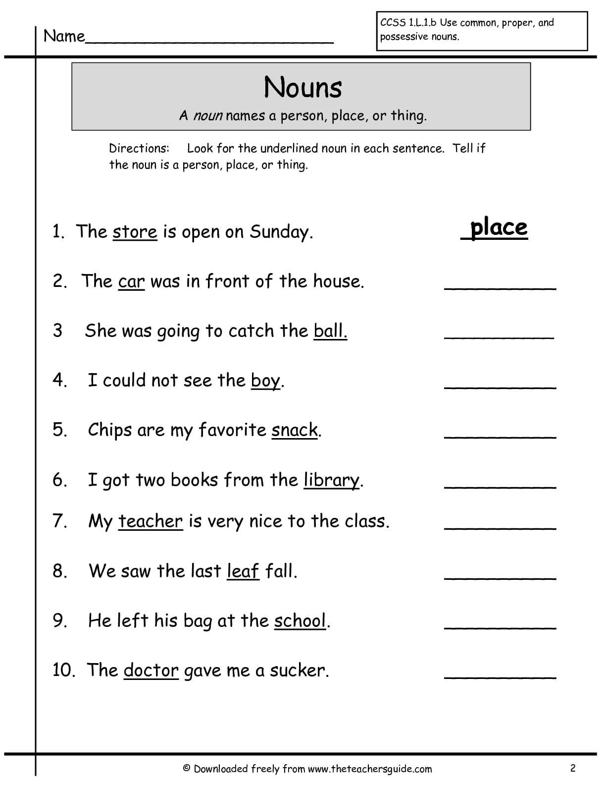 1st Grade Nouns 133036
