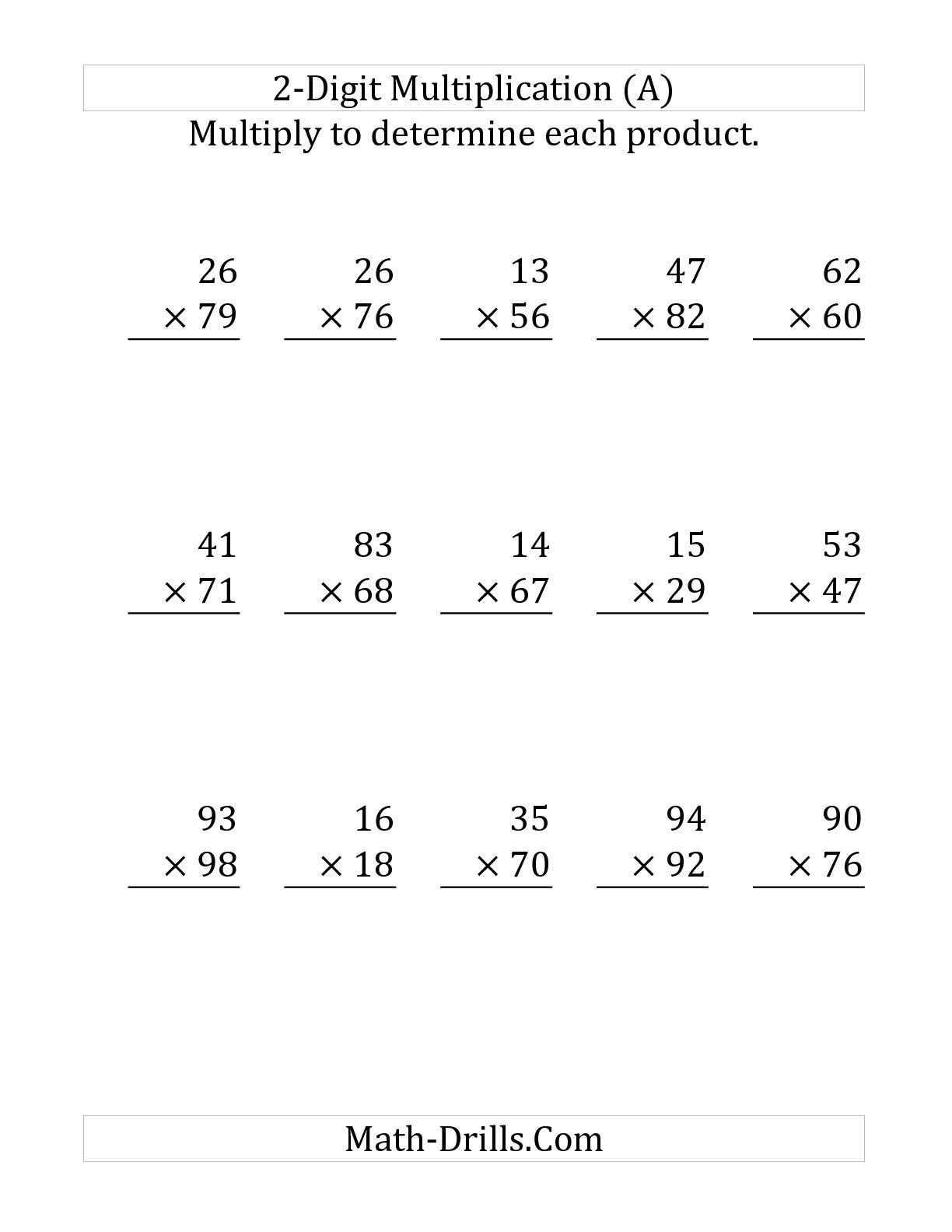 2 Digit By Multiplication Worksheets Worksh Koogra X On Graph