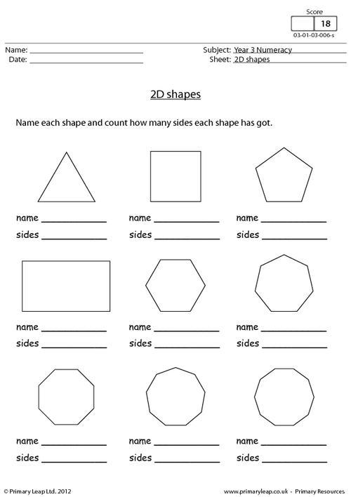 2d Shapes Worksheets For Kindergarten 217948