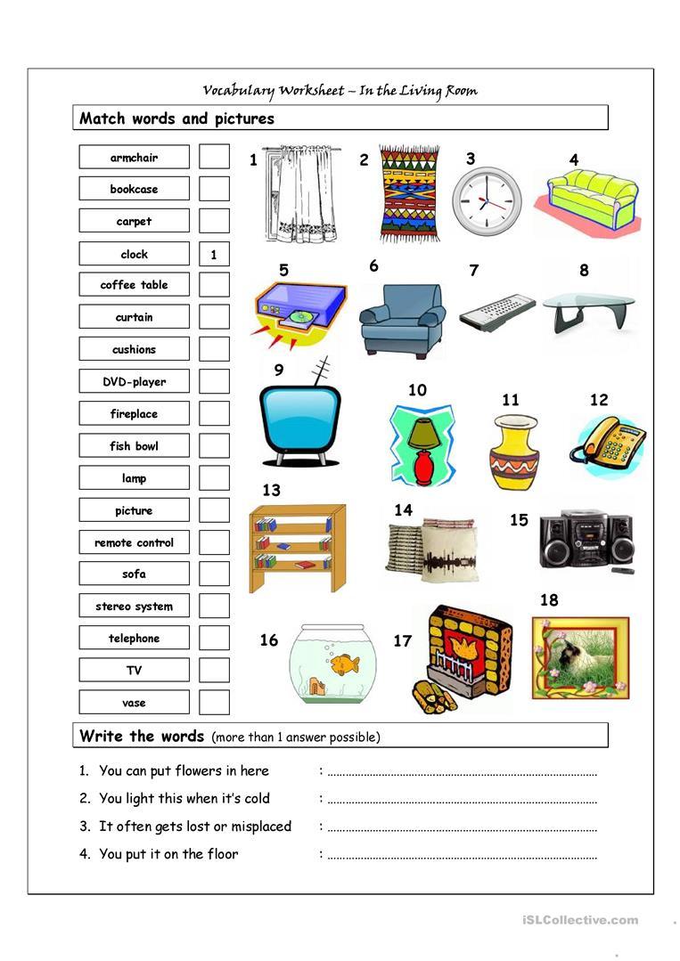 40 Free Esl Living Room Worksheets