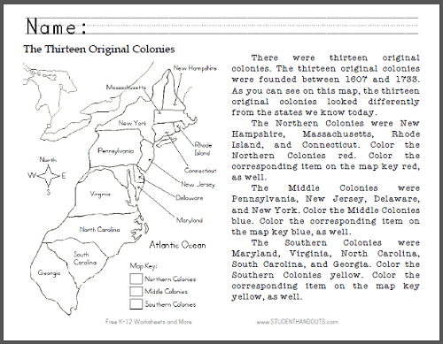 43 13 Colonies Map Worksheet, The Thirteen Colonies Map Maps For