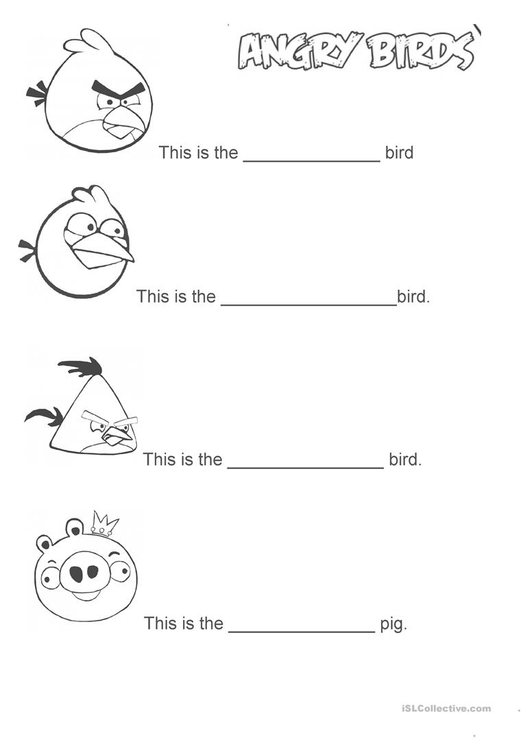6 Free Esl Angry Birds Worksheets