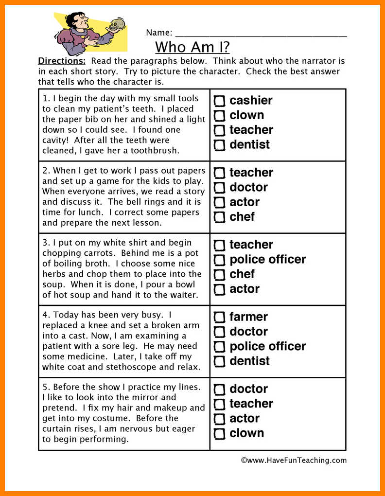 6= Making Inferences Worksheets