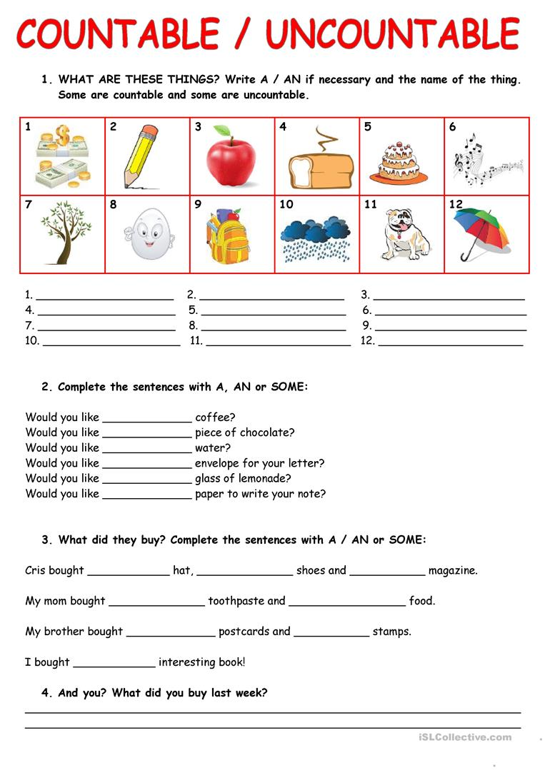 82 Free Esl Uncountable Nouns Worksheets