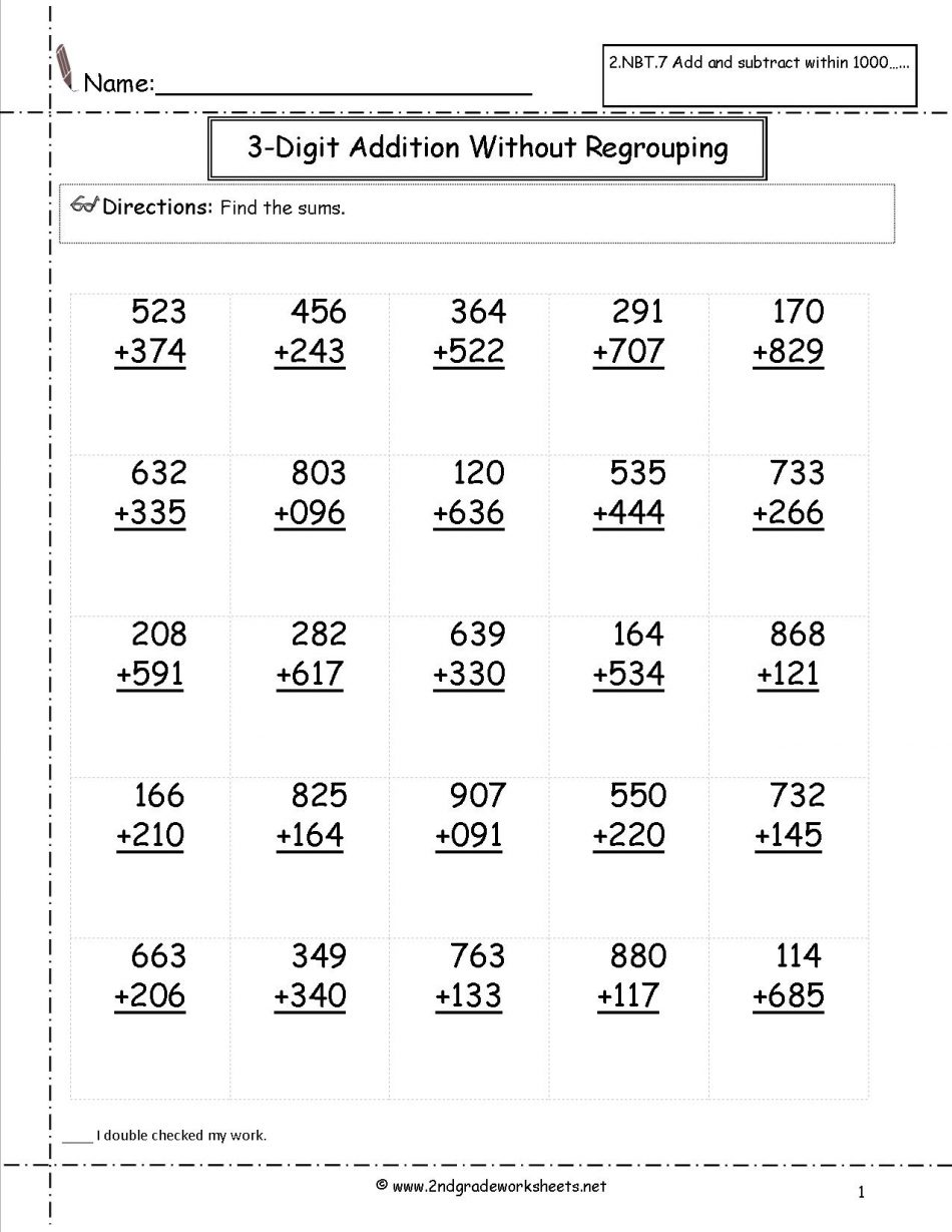 Addition And Subtraction Within Worksheets With Regrouping