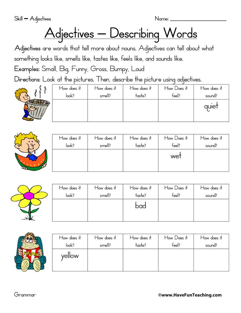 Adjective Worksheet Basic 384092
