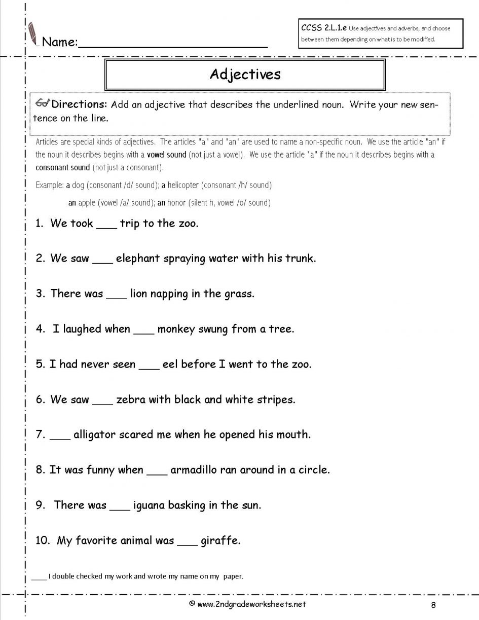 Adjective Worksheets 5th Grade The Best Worksheets Image