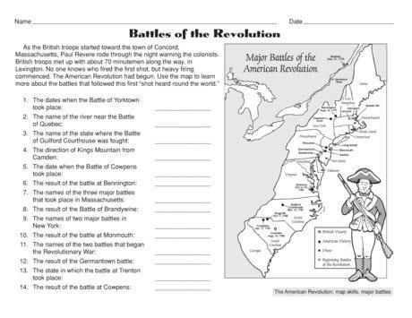 American Revolutionary War Worksheets 588657